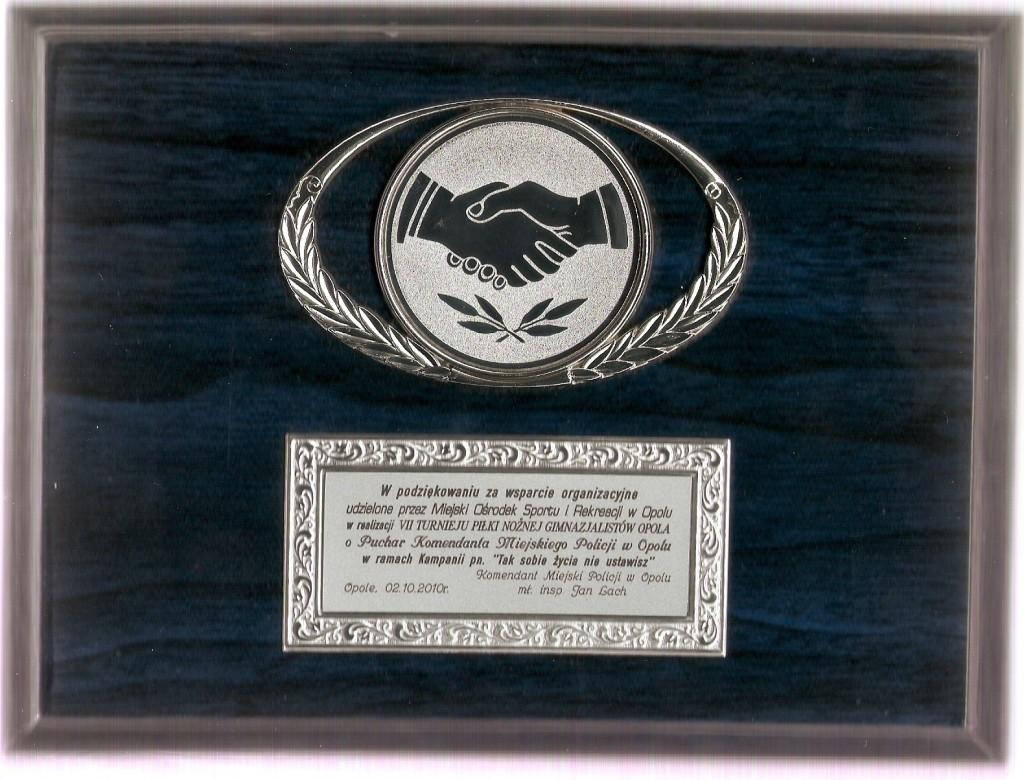 16_VII Turniej o Puchar Komendanta Miejksiego Policji - podziekowanie