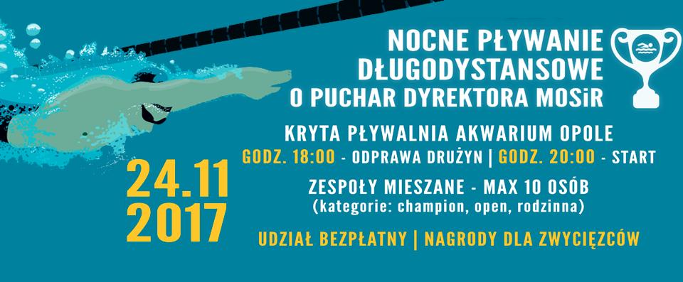 Komunikat startowy Nocne Pływanie Długodystansowe o Puchar Dyrektora MOSiR