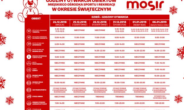 Harmonogram pracy obiektów MOSiR Opole w okresie świąteczno-noworocznym 2018-2019
