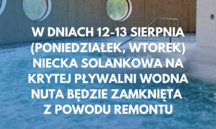 Solanka na Wodnej Nucie nieczynna w dniach 12-13 sierpnia
