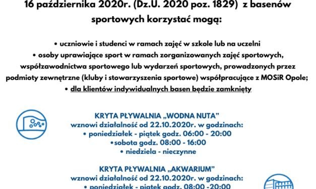 PLYWALNIE WZNAWIAJĄ DZIAŁALNOŚĆ OD 22.10.2020 r.